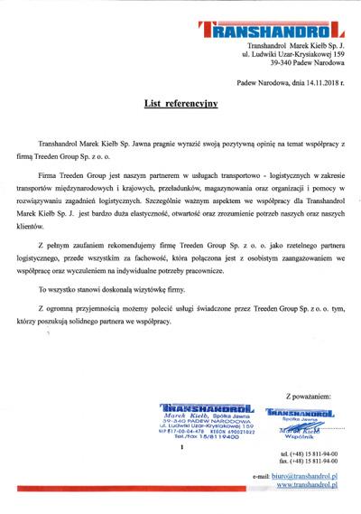 Referencje Transhandrol